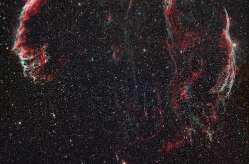Figure 6. The straw that broke the camel's back. This is a two-frame mosaic of the Veil nebula in Cygnus including narrowband H-alpha and OIII data. This image required over 30-hours of total imaging time.