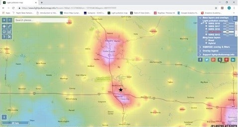 Image 2:  Light Pollution Map for the Iowa City/Cedar Rapids Corridor, sourced from https://www.lightpollutionmap.info/#zoom=9&lat=5136126&lon=-10201675&layers=B0FFFFTFFFF