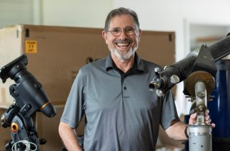 Steve Layman, an amateur astronomer who's made a career in music, works with the astronomy department to bring telescopes to schools and Scouts. (Photo by Sanjay Suchak, UVA University Communications)