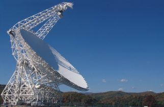 The Robert C. Byrd Green Bank Radio Telescope (GBT) is the world's largest steerable telescope, standing 485-feet tall, weighing over 17 million pounds, with a 2.3 acre surface.